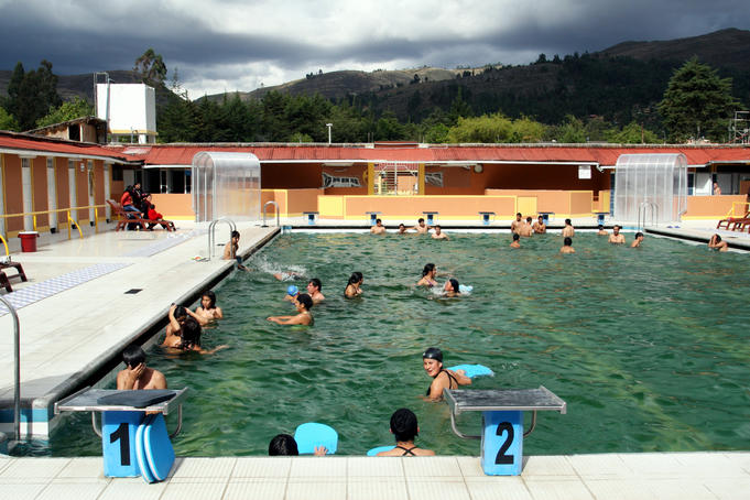 Swimming at Los Banos del Inca, natural hot springs once bathed in by Inca King Atahualpa.