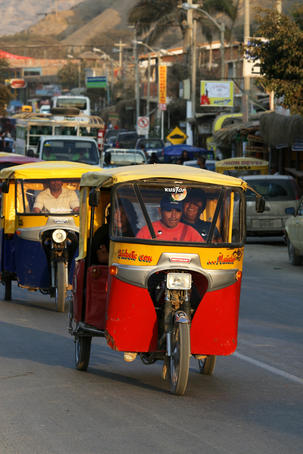 Mototaxi in the main street of Mancora.