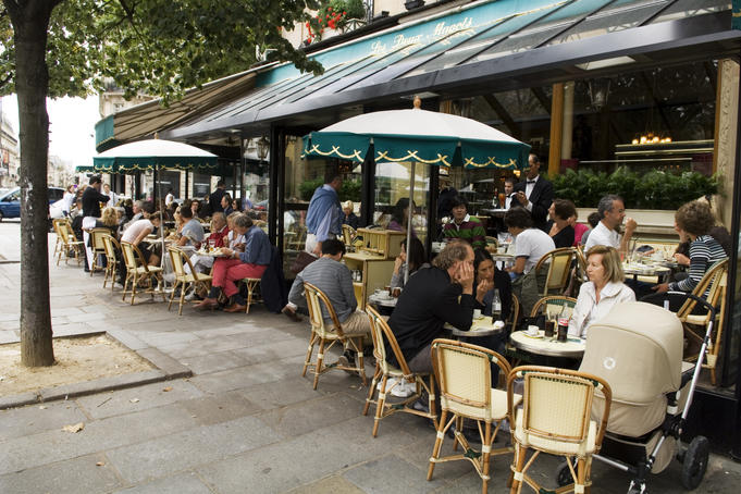 Dining outside Les Deux Magots in the St-Germain area.