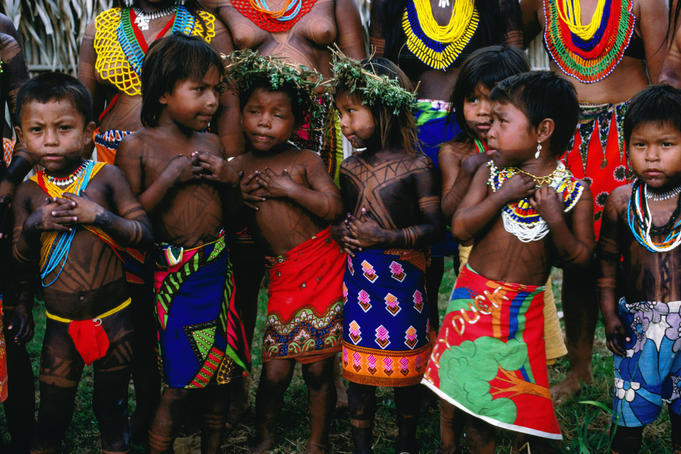 Children from the Embera and Wounaan tribes.