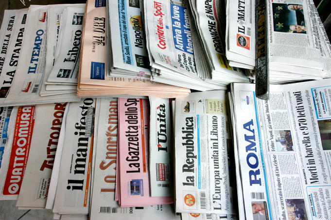 Selection of Italian newspapers.