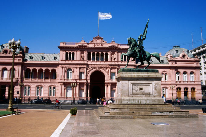 The Casa Rosada and Monument to General Manuel Belgrano, in Plaza de Mayo.