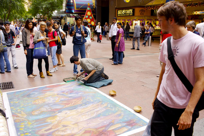 Pavement artist on Pitt Street Mall.
