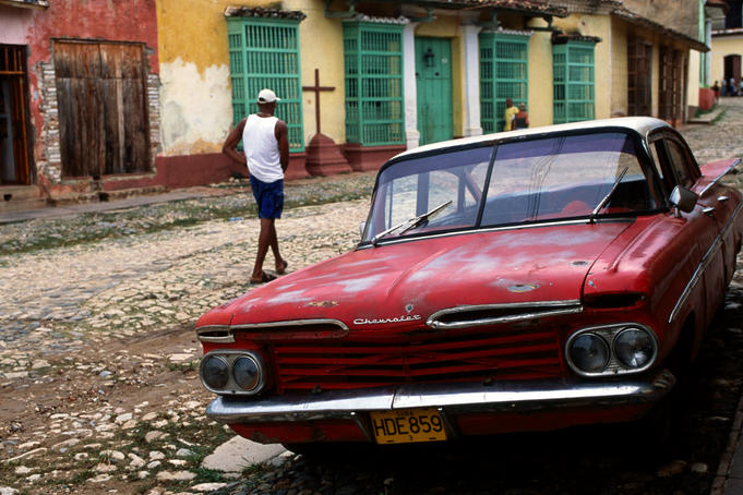 1950's Chevrolet on cobble-stoned street.