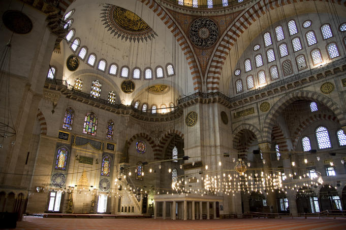 Sultan Ahmed Mosque (or Blue Mosque) interior.