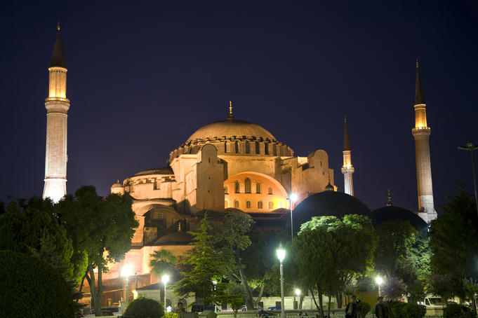 Hagia Sofia mosque at night.
