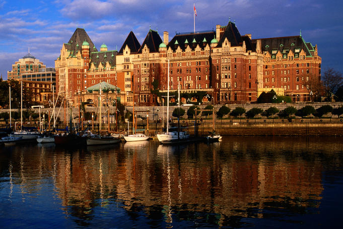 Fairmont Empress Hotel at sunset.