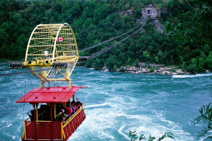 Whirpool Aero Car soaring above the Niagara River, below Niagara falls.