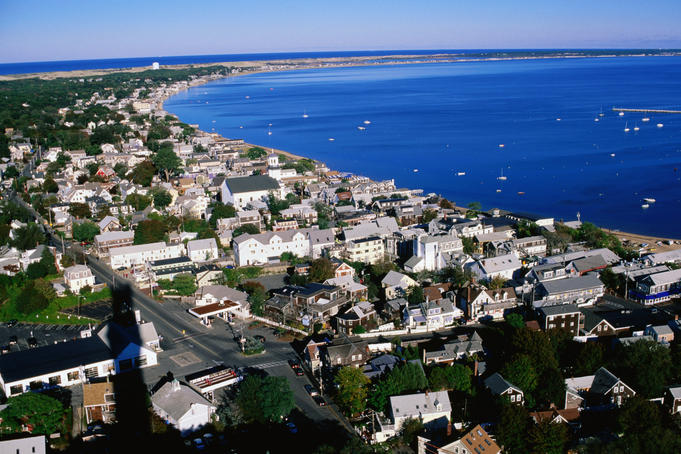 Overlooking Provincetown houses and foreshore from atop Pilgrim Monument.