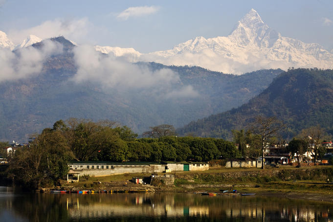 Annapurna Range with Fewa (Phewa Lake) in foreground.