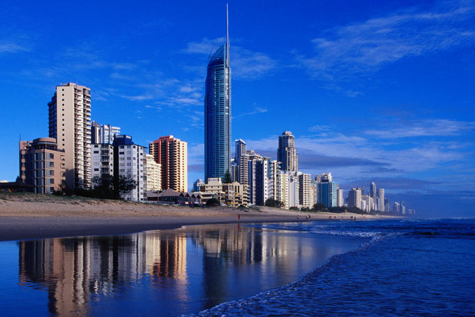 Hi-rise apartment buildings and Surfers Paradise beach.