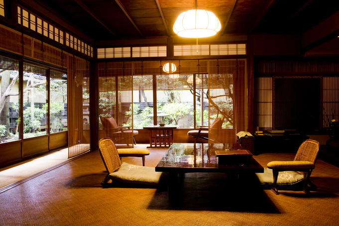 Hiragiya Ryokan, traditional room in this 190 year old Ryokan, downtown Kyoto.