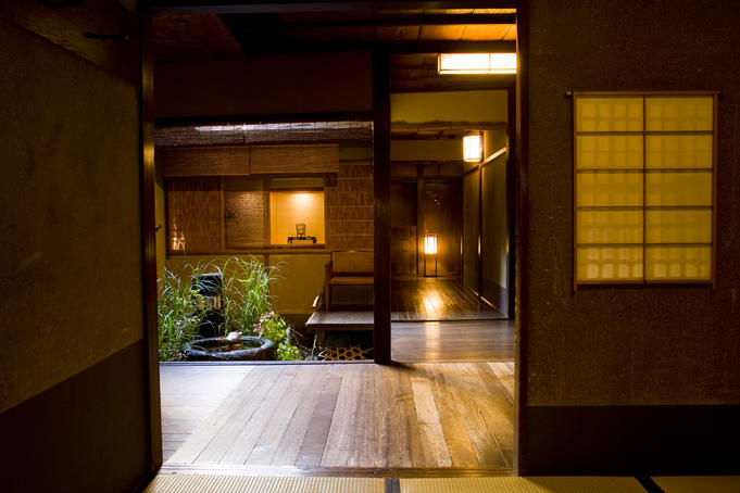 Wooden rooms and small garden at Tawaraya Ryokan, downtown Kyoto.
