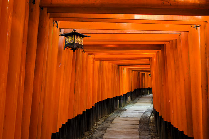 Tori tunnels at the 8th-century Fushimi-Inari-Taisha shrine, Southern Kyoto.
