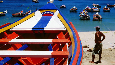 Brightly-painted boats, Venezuela