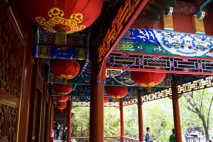 Hanging lanterns and decorated beams, Prince Gong's Residence.