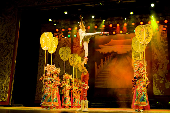 Acrobats performing at Chaoyang Theatre, Chaoyang district.