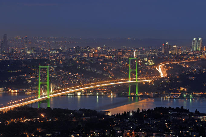 Illuminated Bosphorus Bridge in the evening.