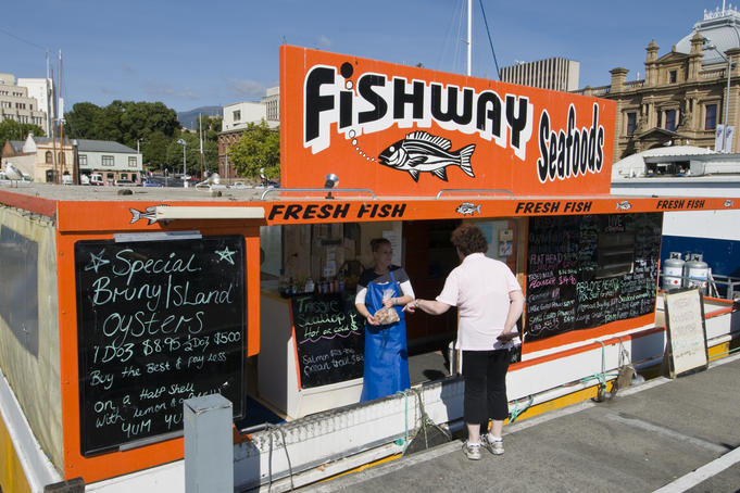 Takeawy seafood from one of several floating punts moored in Constitution Dock