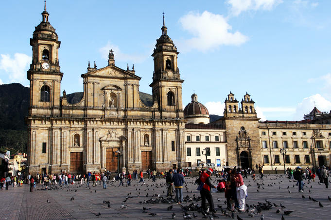 Catedral Primada (left) and Capilla del Sagrario (right) in Plaza de Bolivar.