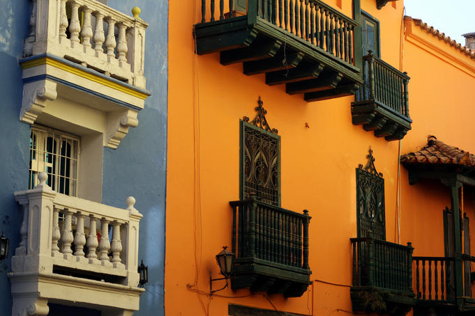 Balconies in the walled city, examples of colonial architecture.