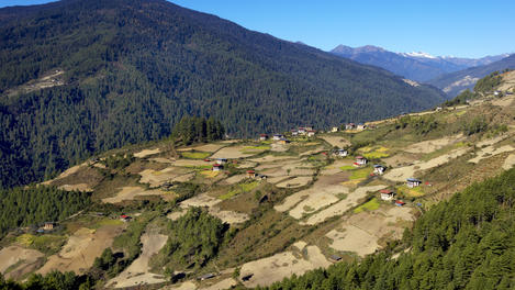 Overlooking houses and fields in the mountains of Western Bhutan.