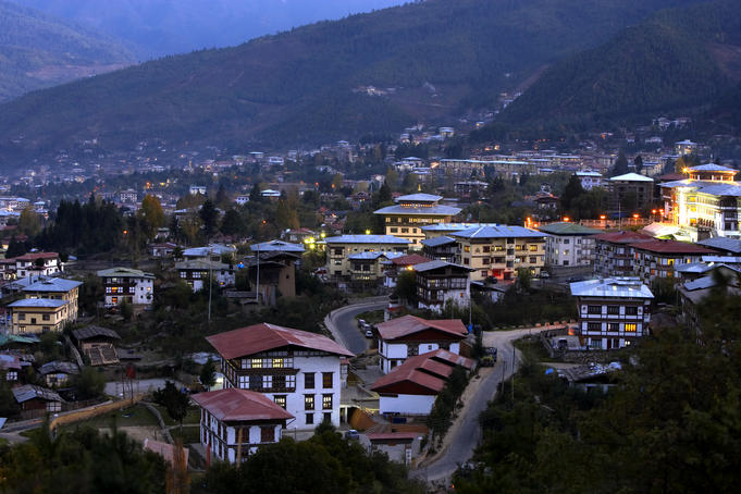 Thimphu Bhutan  city photos : Bhutanese buildings, looking out over Thimphu.