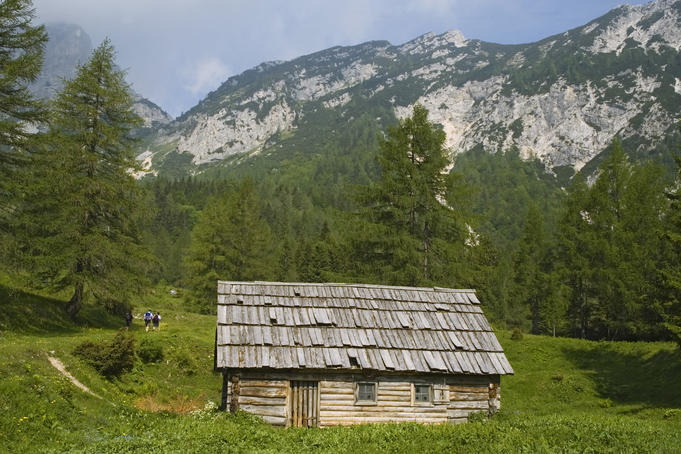 Mountain hut sits near the Julian Alps.