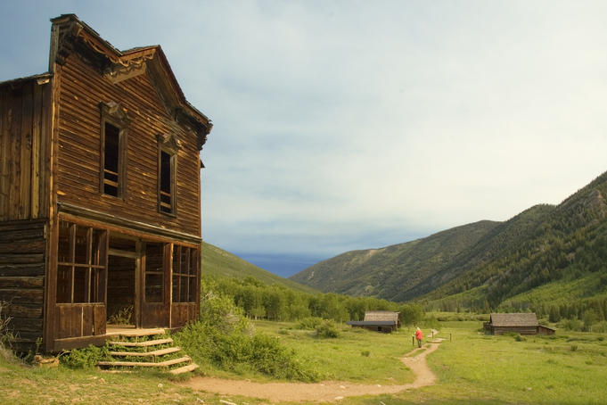 Hotel at 19th century silver mining town, Ashcroft Ghost Town, near Aspen.