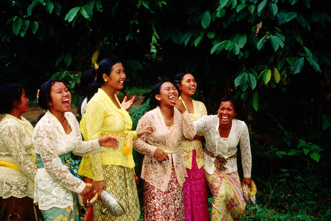Group of laughing women near Ubud.