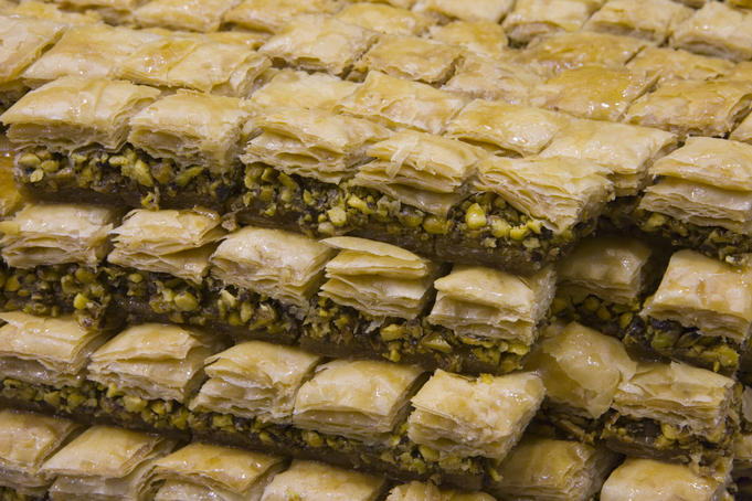 Arabian baked sweets, Aboharb Pastry Shop, Souq al-Hamidiyya covered market.