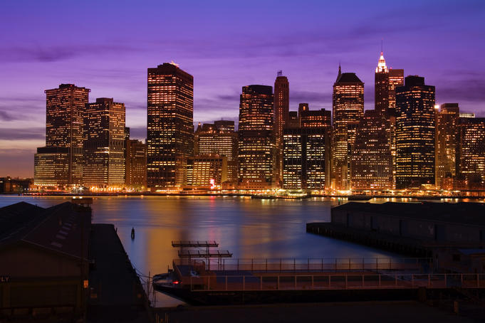Lower Manhattan Skyline at twilight.