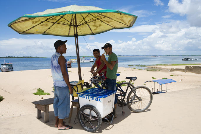 Ice cream cart on Amazon river waterfront, Santarem