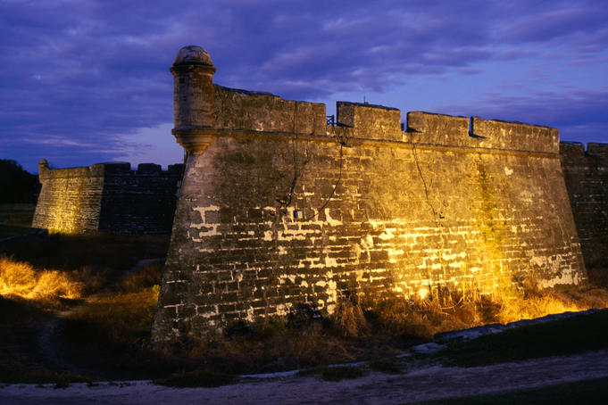 Castillo San Marcos National Monument at night - St Augustine, Florida
