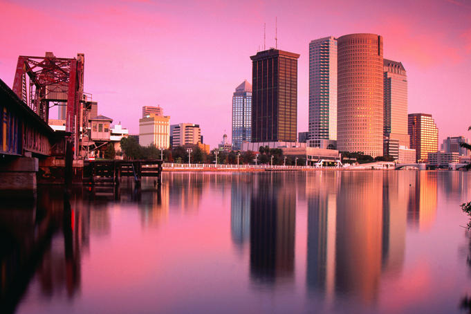 A surreal light over the Hillsborough River and Tampa skyline, Florida