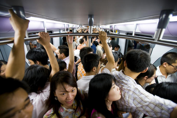 Peak hour commuters on Shanghai Metro, Line 2.