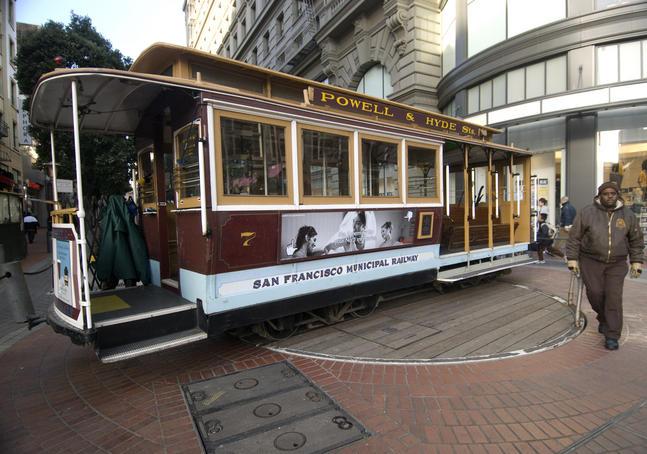 Cable car turnaround at Powell and Market Streets