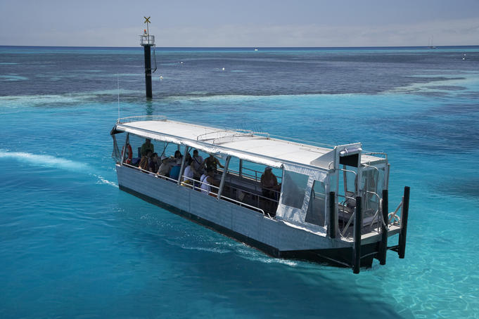 Glass-bottomed boat, Great Barrier Reef Marine Park.