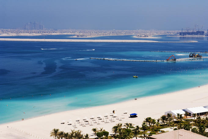 Beach at Dubai Marina and parts of the Palm Beach.