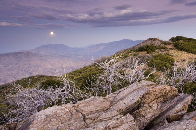 Rising moon over San Jacinto Valley, seen from the Pacific Crest Trail.