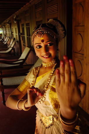 Portrait of Kerala dancer showing some of her dance moves.