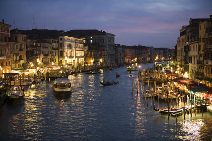 Grand Canal at dusk, seen from Rialto Bridge.