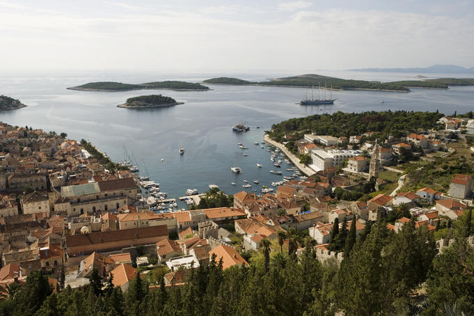 Hvar town and harbour, with sailing cruiseship Royal Clipper.