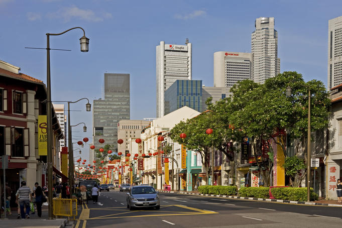 South Bridge Road in Chinatown and city buildings.
