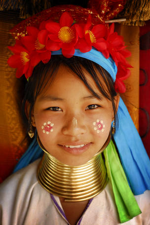 Portrait of a Padaung (Padong) tribal girl wearing neck coil.