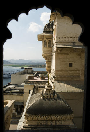 view of Lake Pichola from the City Palace. Udaipur, Rajasthan. India