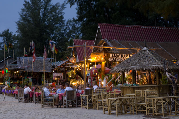 Tik and other beachfront restaurants on Ao Bang Thao Beach.
