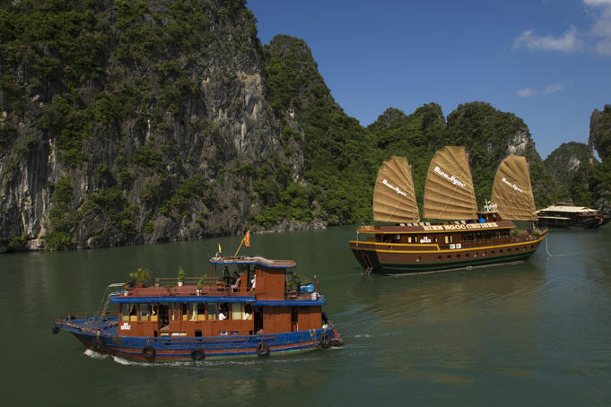 Boats in Halong Bay.