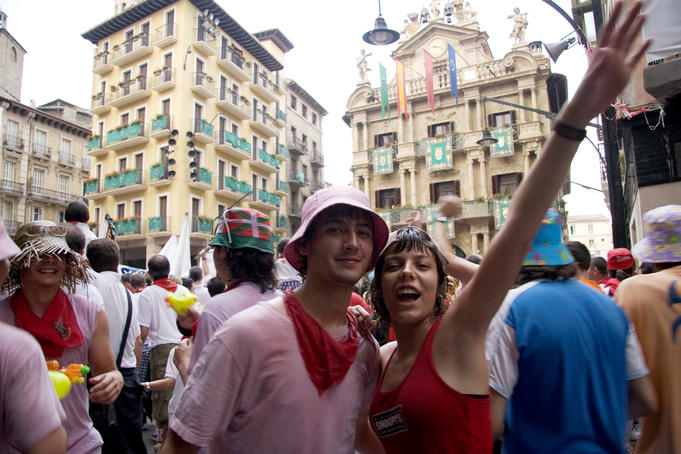 Revellers in square during San Fermin festival.