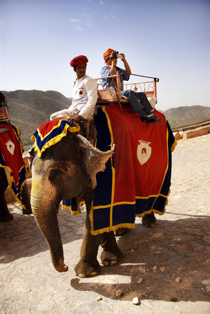 Tourist taking elephant ride.